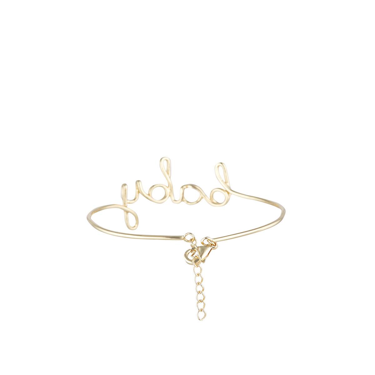 """""""BABY"""" Bracelet jonc en fil lettering doré à message"""