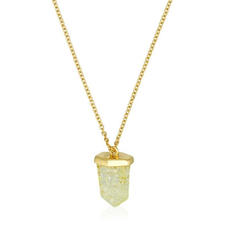 Collier Torrente en laiton doré à l'or fin  Pendant Blanc d'Argent