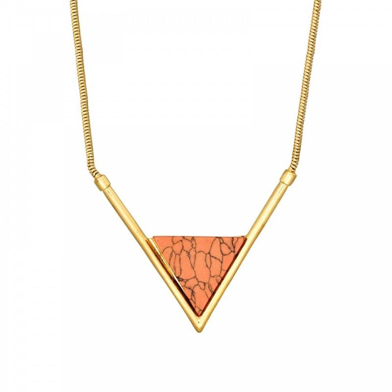 Collier Torrente en laiton doré à l'or fin  Triangle Rouge Feu