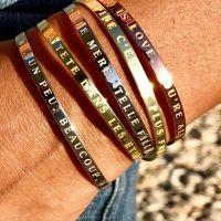 """""""PAS DE PACOTILLE"""" Jonc argenté bracelet à message"""