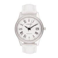 """Torrente - Montre """"Classica"""" Cadran Blanc - Boîtier Acier - Bracelet Cuir Blanc - Diamants 0.01 carats Femme"""