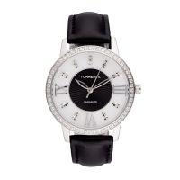 """Torrente - Montre """"Spirit"""" Cadran Blanc - Boîtier Acier - Bracelet Cuir Noir - Diamants 0.01 carats Femme"""