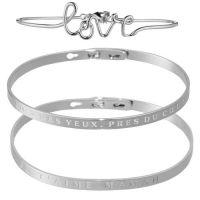 """Parure """"LOVE"""" 3 Bracelets Joncs à message Argenté"""