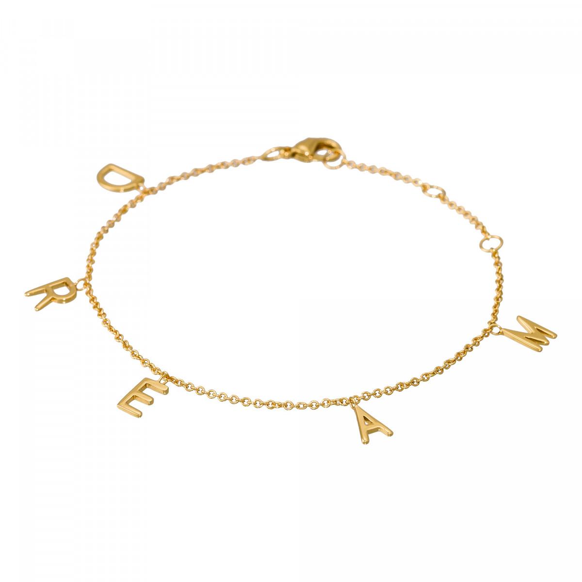 """Bracelet à message laiton doré """"DREAM"""""""
