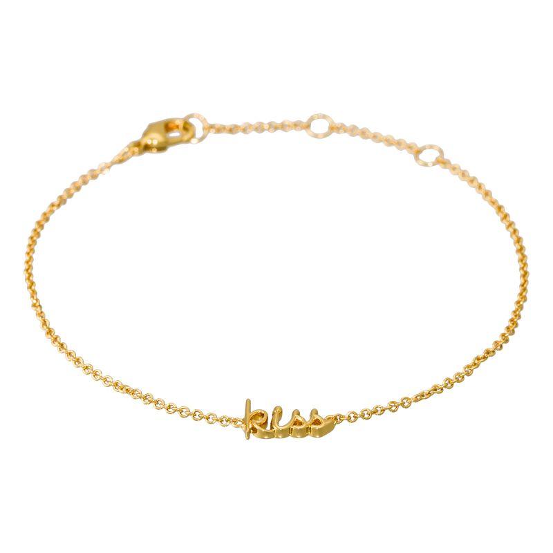"""Bracelet à message laiton doré """"KISS"""""""