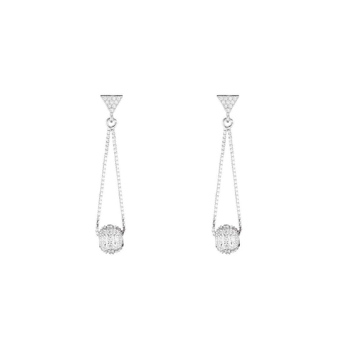 """Boucles d'oreilles en argent et oxydes de zirconium """"Géométrique Rond"""""""