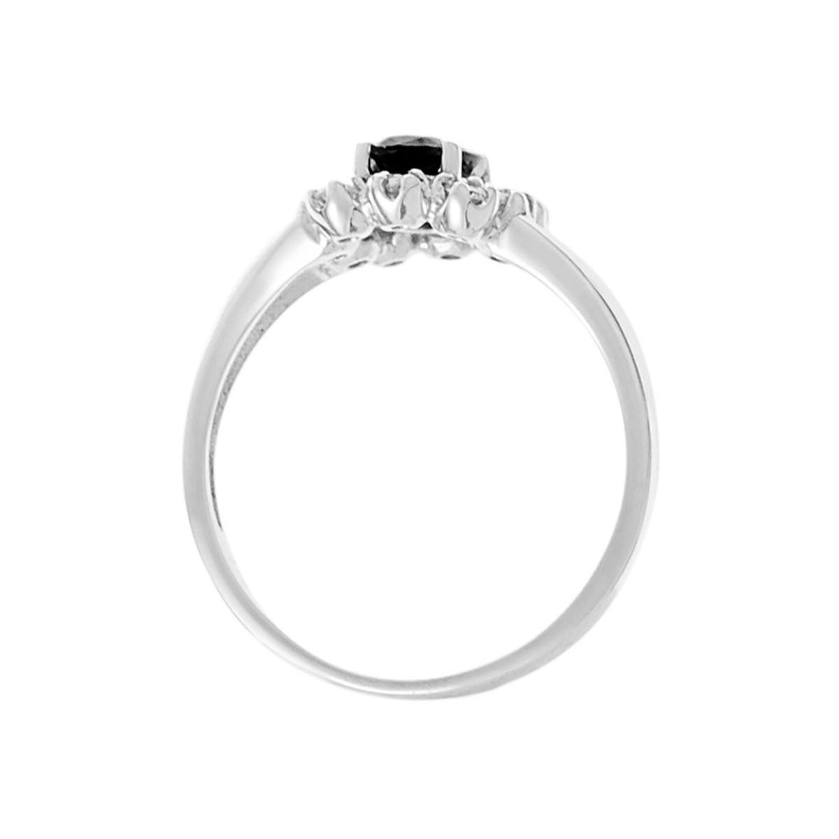 "Bague Or Blanc et Diamants 0,21 carat et Saphir 1 carat ""BAHIA"""