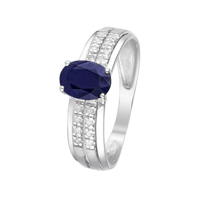 plus récent 7d893 7d8c8 Bague Or Blanc et Diamants 0,05 carats et Saphir 1 carats