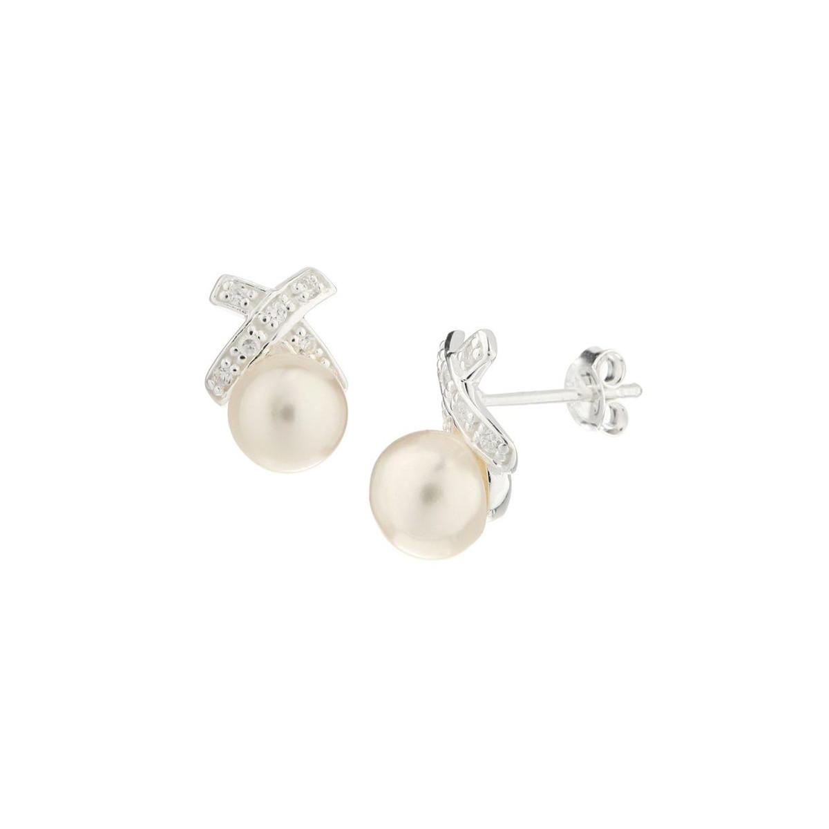 """Boucles d'oreilles en Perles de culture Blanche et Argent """"Ruban"""""""