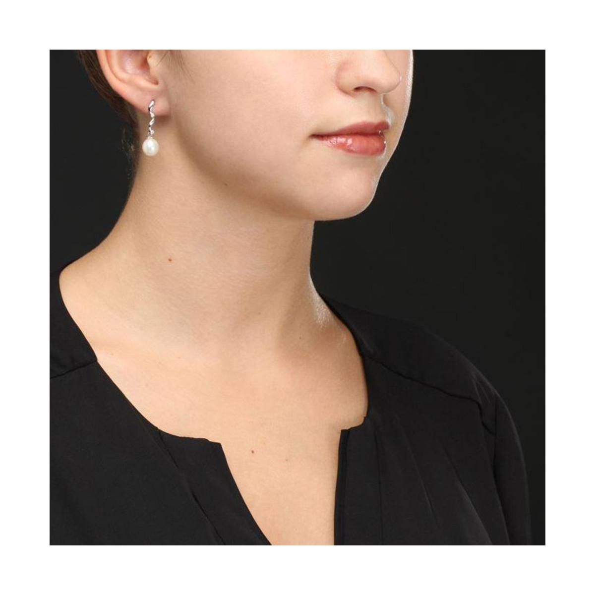 """Boucles d'oreilles Argent, oxydes de zirconium et Perles de Culture Blanches """"Suspended Long Pearl"""""""