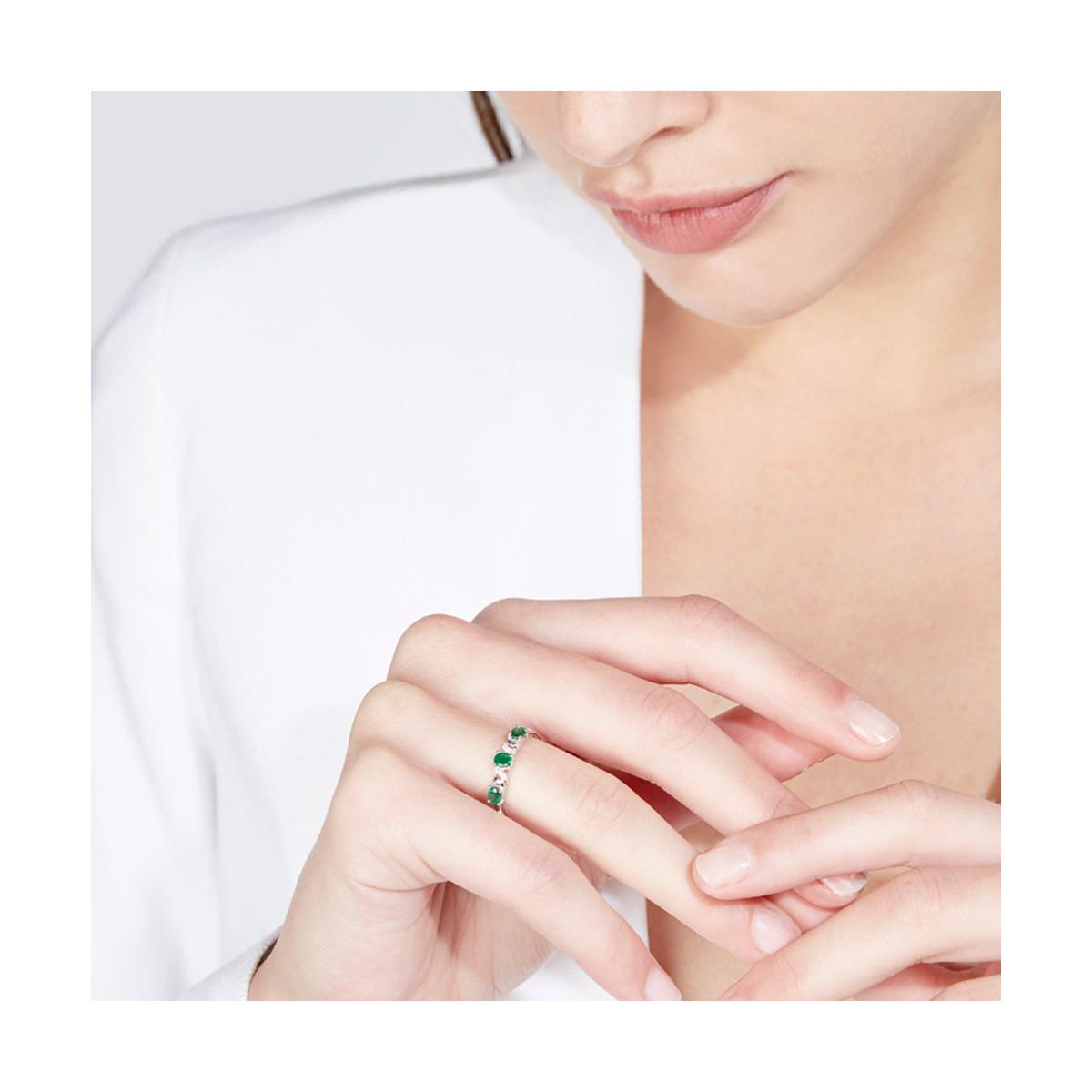 """Bague Or Blanc, Diamants 0,03 carat et Emeraudes 0,60 carat """"ABAYA"""""""