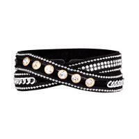 """Bracelet tissu noir ornée de cristaux """"2 tours Noir"""""""