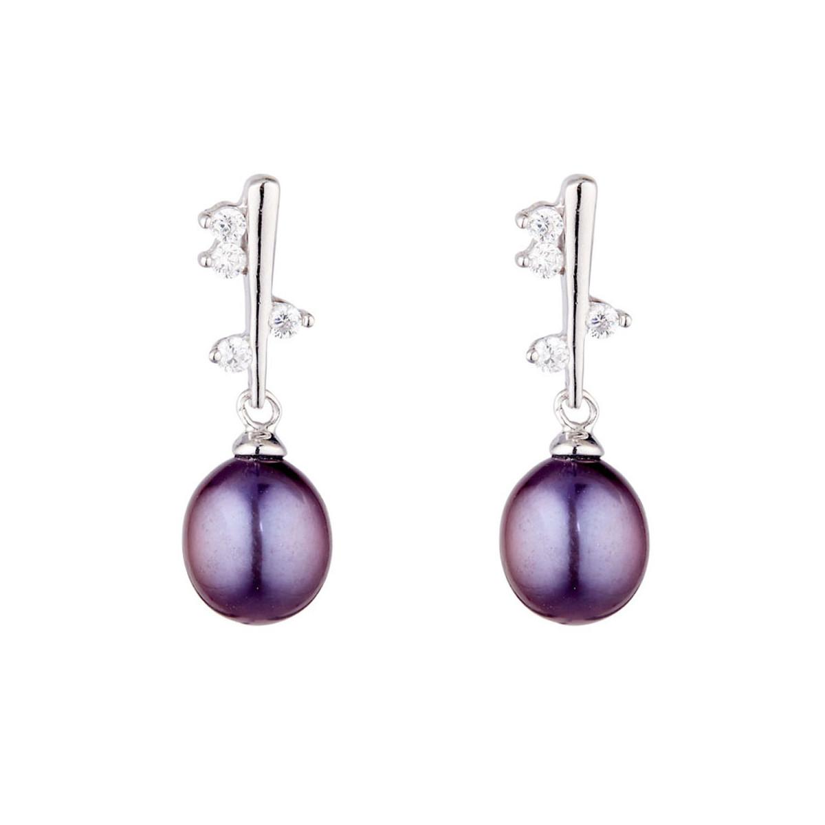 """Boucles d'oreilles argent, oxydes de zirconium et Perle de culture Noire """"Cherry"""""""