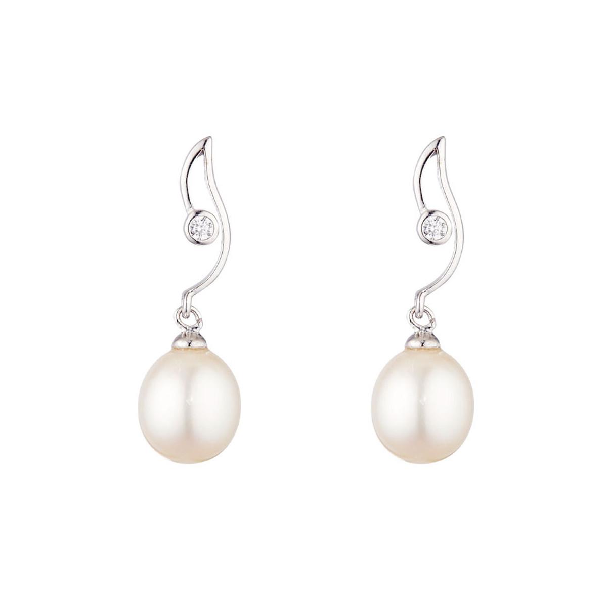 """Boucles d'oreilles argent, oxydes de zirconium et Perles de culture Blanches """"Jazzy"""""""