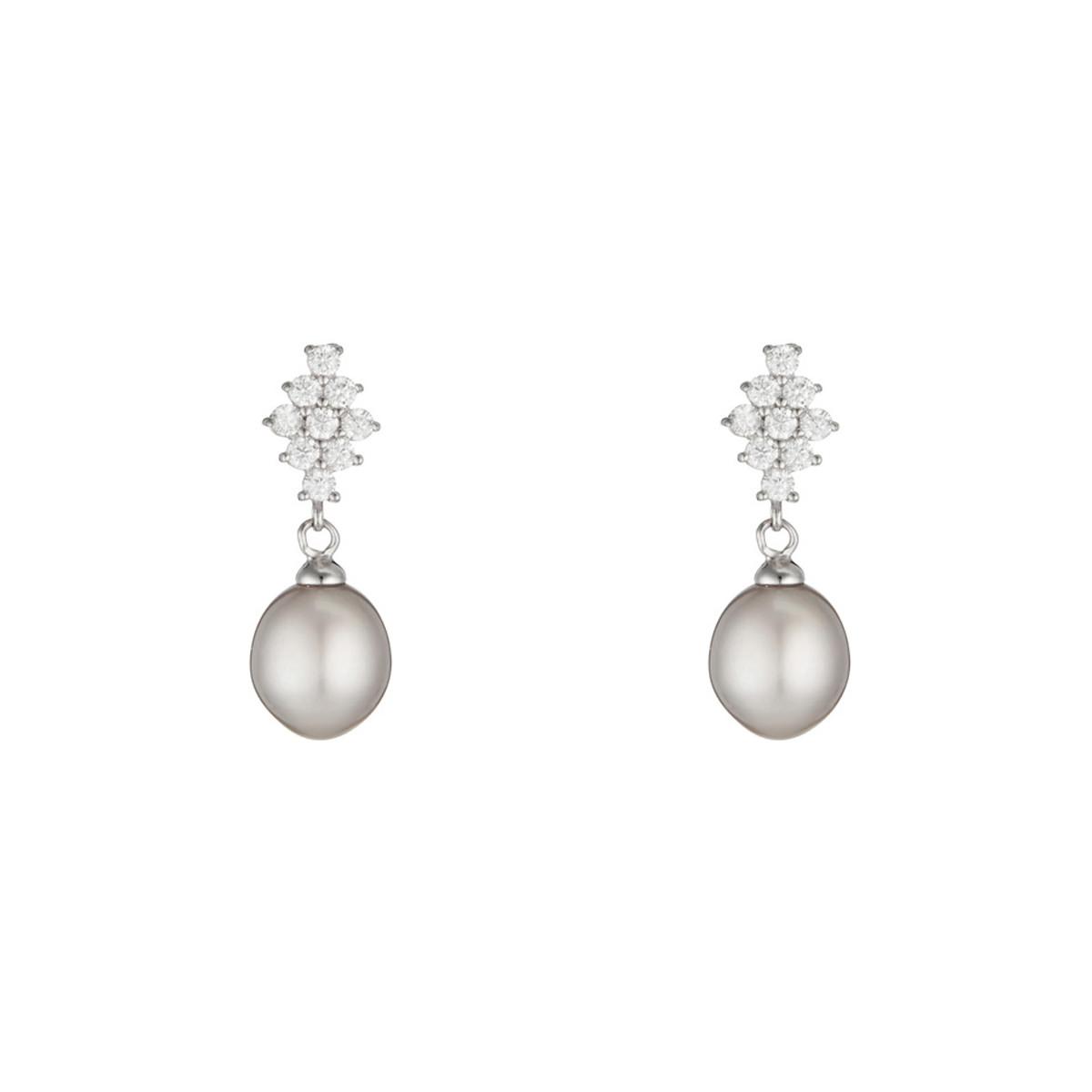 """Boucles d'oreilles argent, oxydes de zirconium et Perles de culture Grises """"Fleurs Perlées"""""""