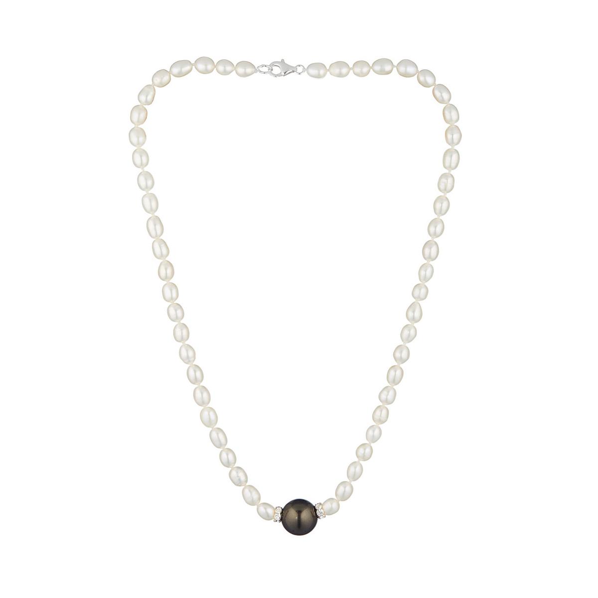"""Collier argent, oxydes de zirconium et Perles de culture Blanches et Noires """"Jolie Nacre """""""