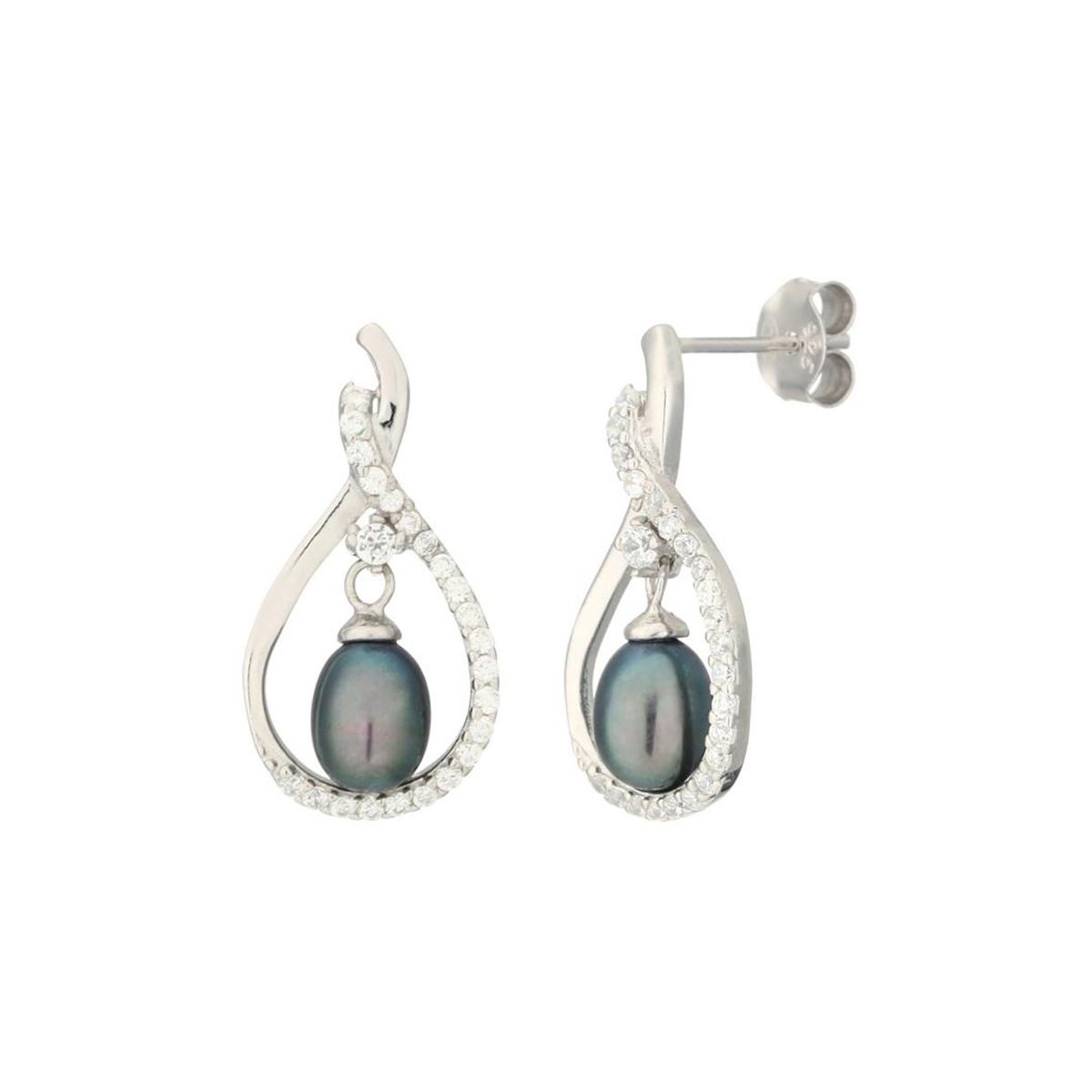 """Boucles d'oreilles argent, oxydes de zirconium et Perles de culture Noires """"Ajourée de Perle"""""""