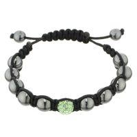 """Bracelet cordon noir avec perles noires et bulle de cristaux verts """"Shamballa The One Vert"""""""