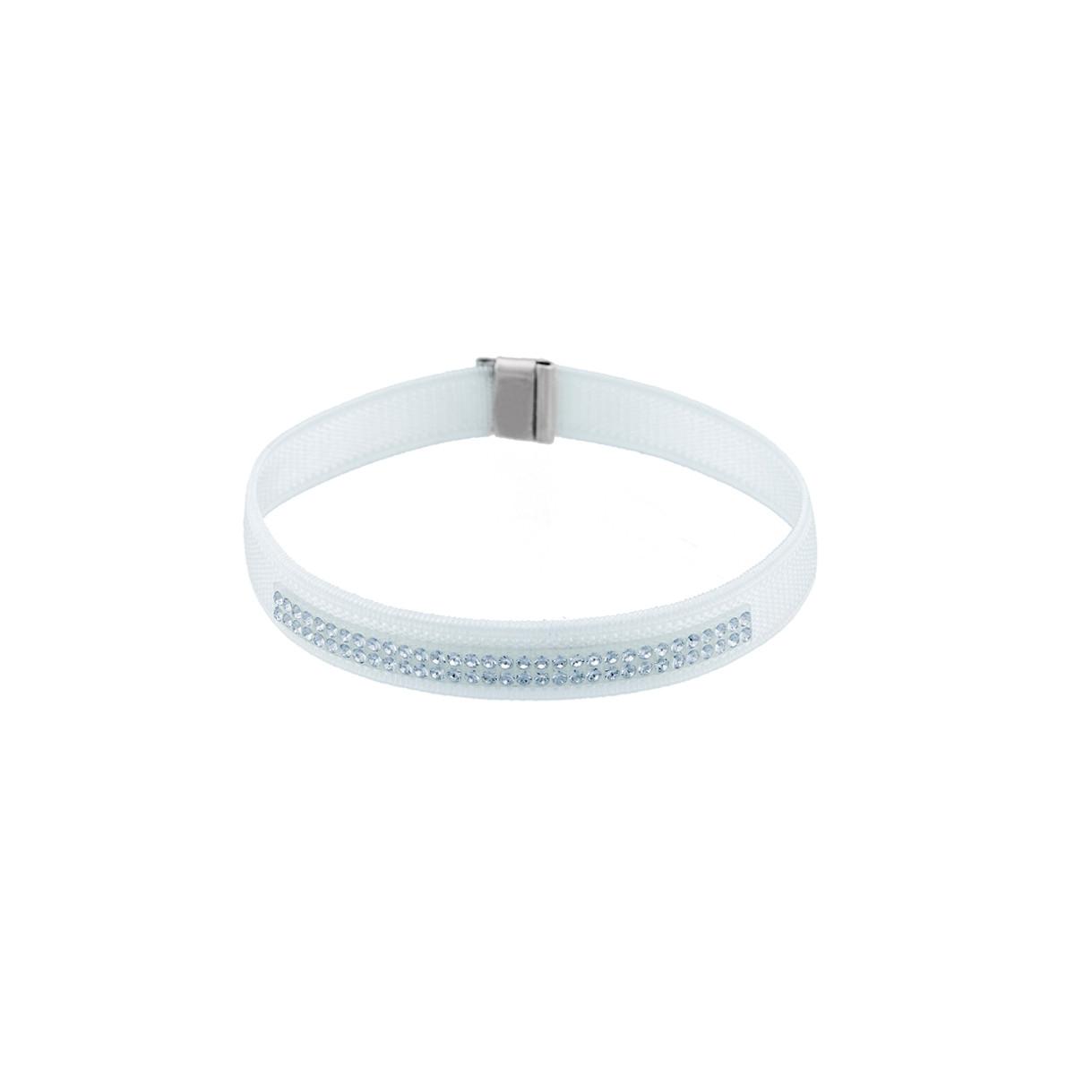 Bracelet Femme Métaphore blanc orné de Cristaux Swarovski Elements et Argent