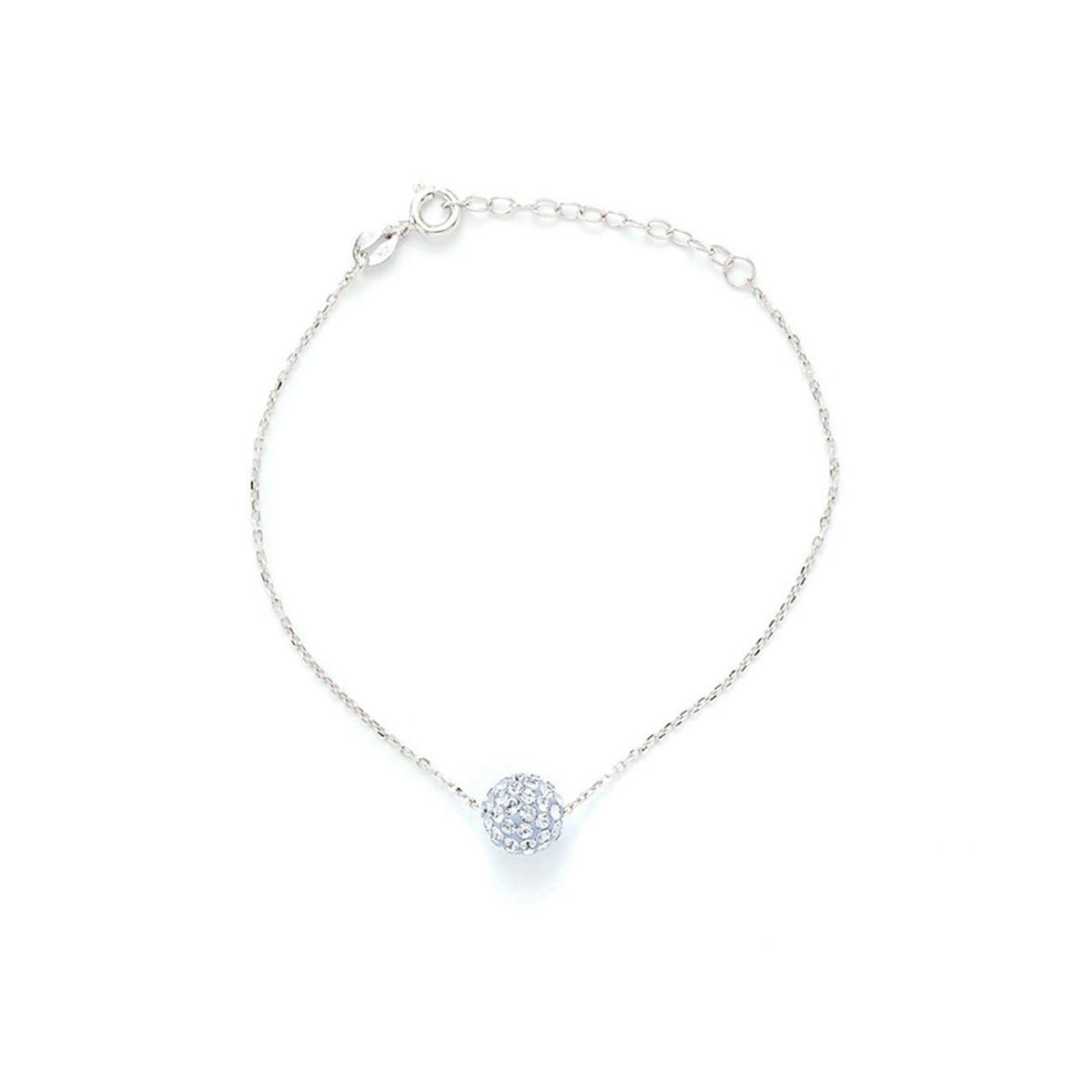 """Bracelet chaine laiton argenté ornée de cristaux bleu et blanc """"Bulle Light Saphir et Blanc"""""""