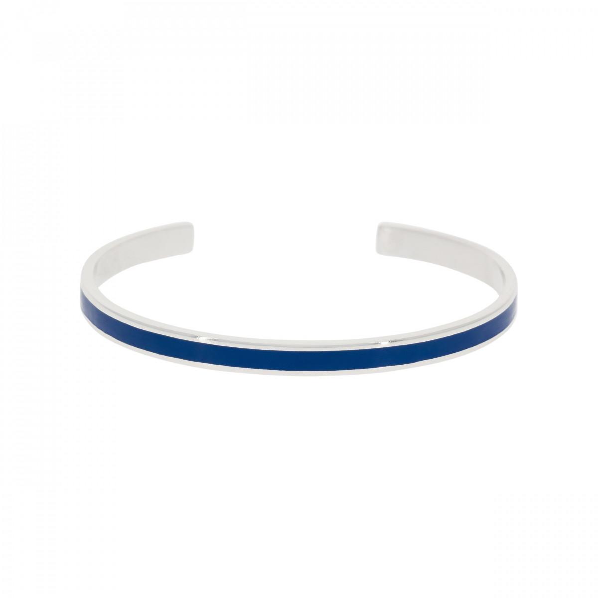 "Bracelet jonc ouvert ""CORFOU"" Émail bleu finition argentée"