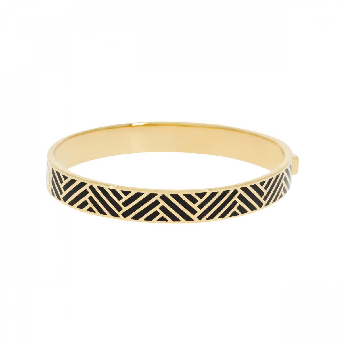 """Bracelet jonc """"RIO"""" Émail noir finition dorée"""