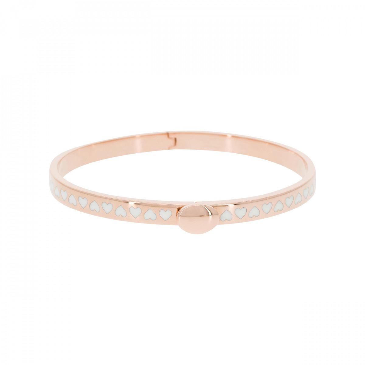 """Bracelet jonc """"SANTIAGO"""" Émail blanc finition rosée"""