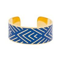 """Bracelet manchette """"MEXICO"""" Émail bleu finition dorée"""