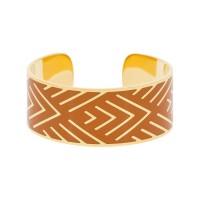 """Bracelet manchette """"MEXICO'' Émail orange finition dorée"""