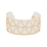 """Bracelet manchette """"STOCKHOLM"""" finition dorée simili cuir blanc"""