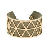"""Bracelet manchette """"STOCKHOLM"""" finition dorée simili cuir gris"""