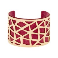 """Bracelet manchette """"PEKIN"""" finition dorée simili cuir rouge"""