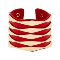 """Bracelet manchette """"ZADAR"""" finition dorée simili cuir rouge"""
