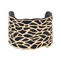 """Bracelet manchette """"NAZARETH"""" finition dorée simili cuir bleu"""