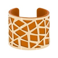 "Bracelet manchette ""PEKIN"" finition dorée simili cuir orange"