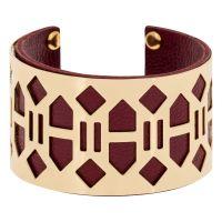 """Bracelet manchette  """"BANJUL"""" finition dorée simili cuir bordeaux"""