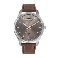 Montre Trendy Calendar - Cadran soleillé argenté - Bracelet Cuir Marron - CC1043-08