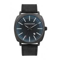 Montre Trendy Handley - Cadran Noir avec verre bleuté - Bracelet Cuir Noir - CC1040-20D