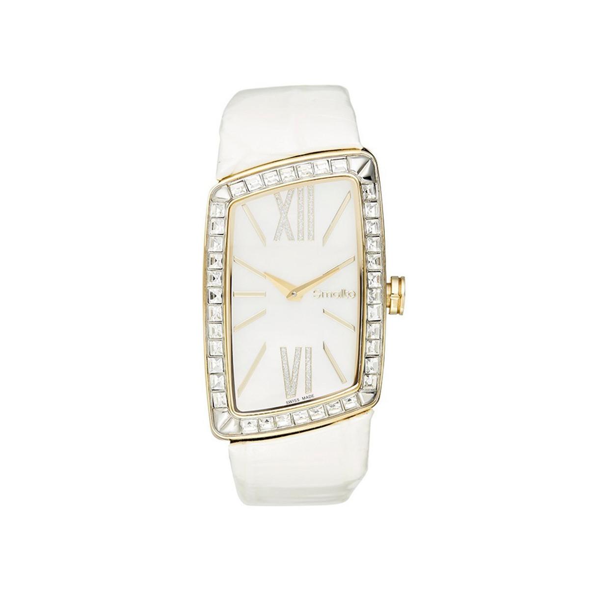 ead277f2c1 Smalto - SNML12C3BC4 - Montre Femme FANTASIA - Boîtier rectangulaire en PVD  jaune doré - Cadran blanc - Bracelet en cuir blanc
