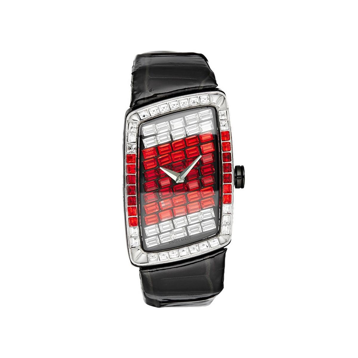 6d6619d479 Smalto - SNML11C1BC8 - Montre Femme FANTASIA - Boîtier rectangulaire en  métal argenté - Cadran rouge - Bracelet en cuir noir
