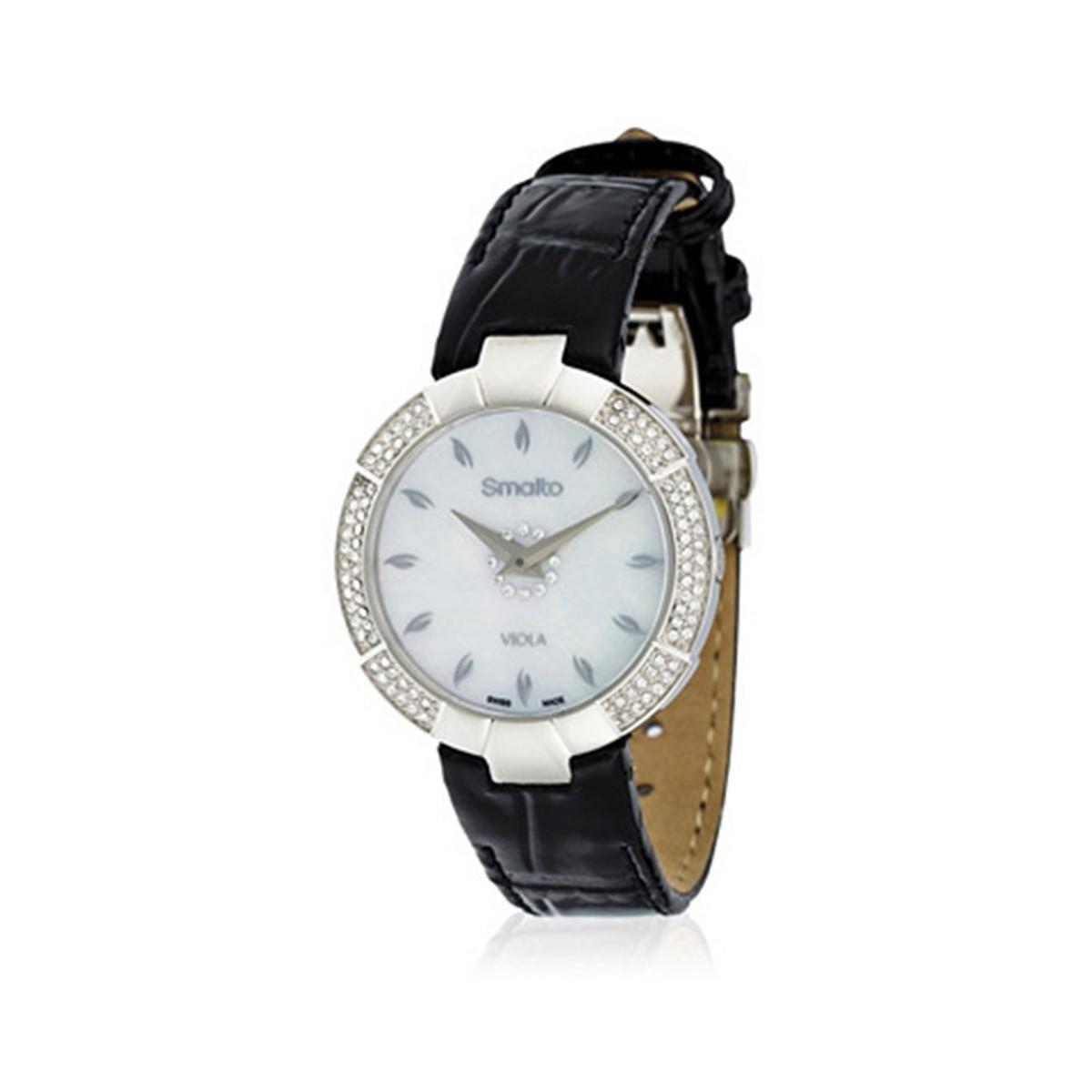 a7383c45b2 Smalto - SM740C3BC1 - Montre Femme VIOLA - Boîtier rond en métal argenté -  Cadran argenté - Bracelet en cuir noir