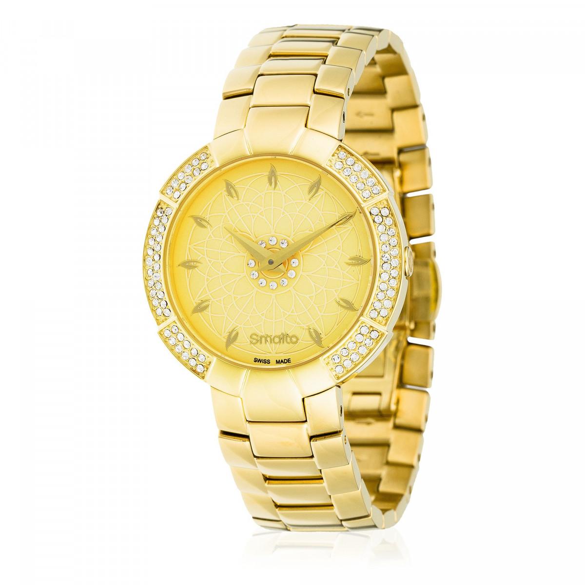 a915849371 Smalto - SM742C8BM6 - Montre Femme VIOLA - Boîtier rond en PVD jaune doré -  Cadran doré - Bracelet en acier doré
