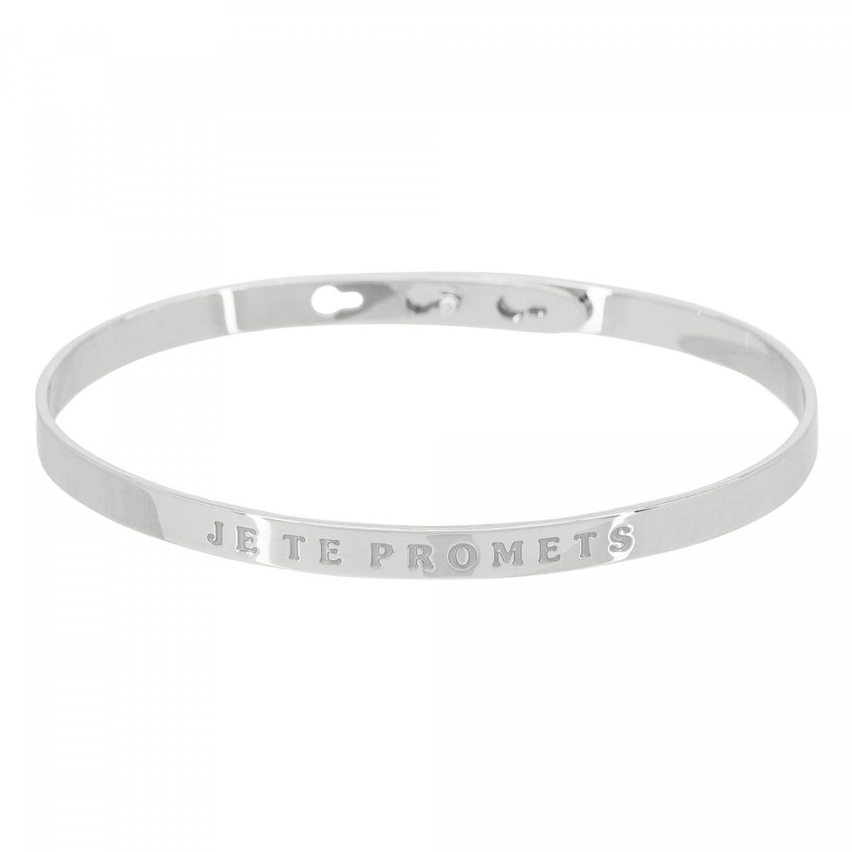 """""""JE TE PROMETS"""" bracelet jonc argenté à message"""