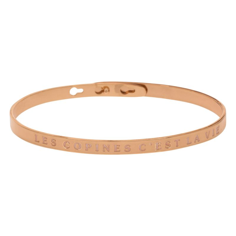 Bracelet Jonc A Message Laiton Rose Les Copines C Est La Vie