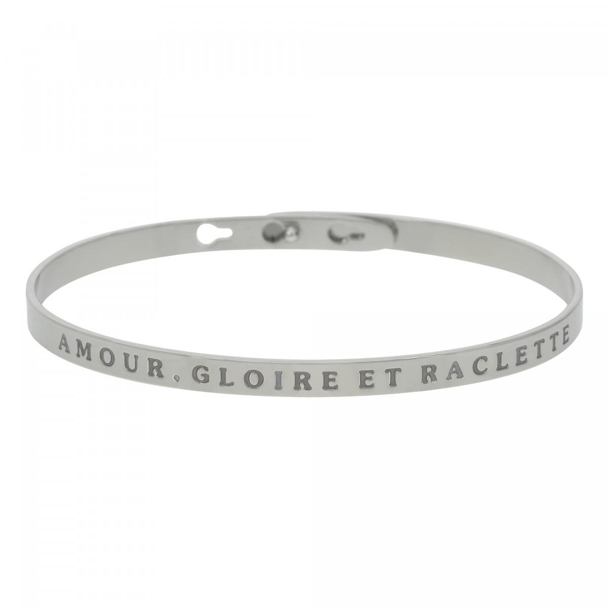 """""""AMOUR, GLOIRE ET RACLETTE"""" bracelet jonc argenté à message"""