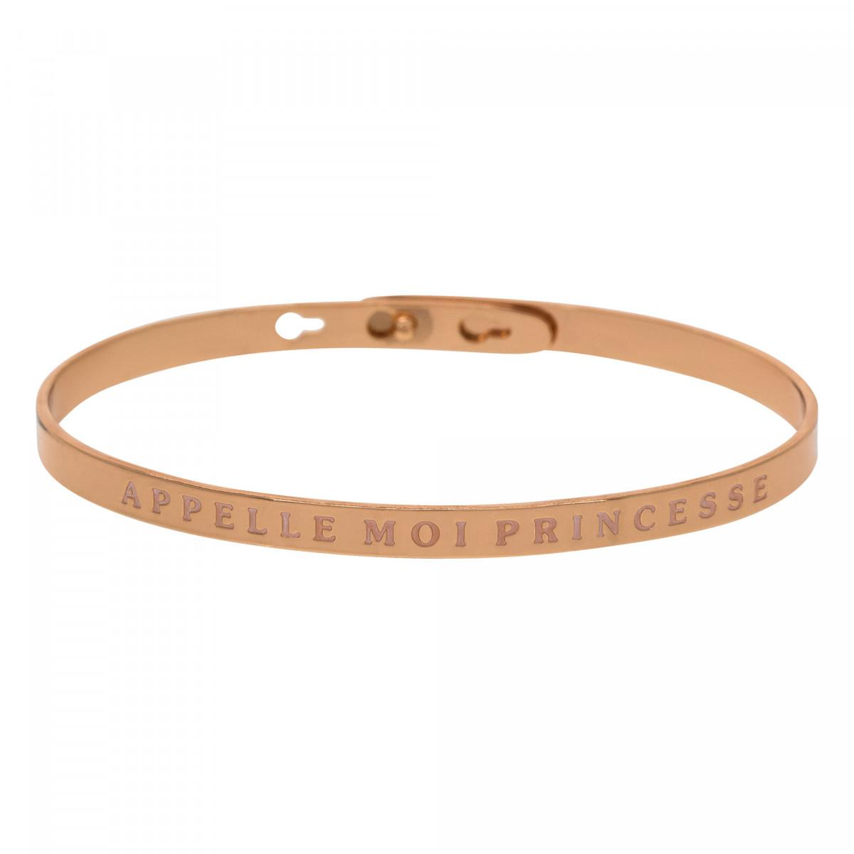 """""""APPELLE MOI PRINCESSE"""" bracelet jonc rosé à message"""