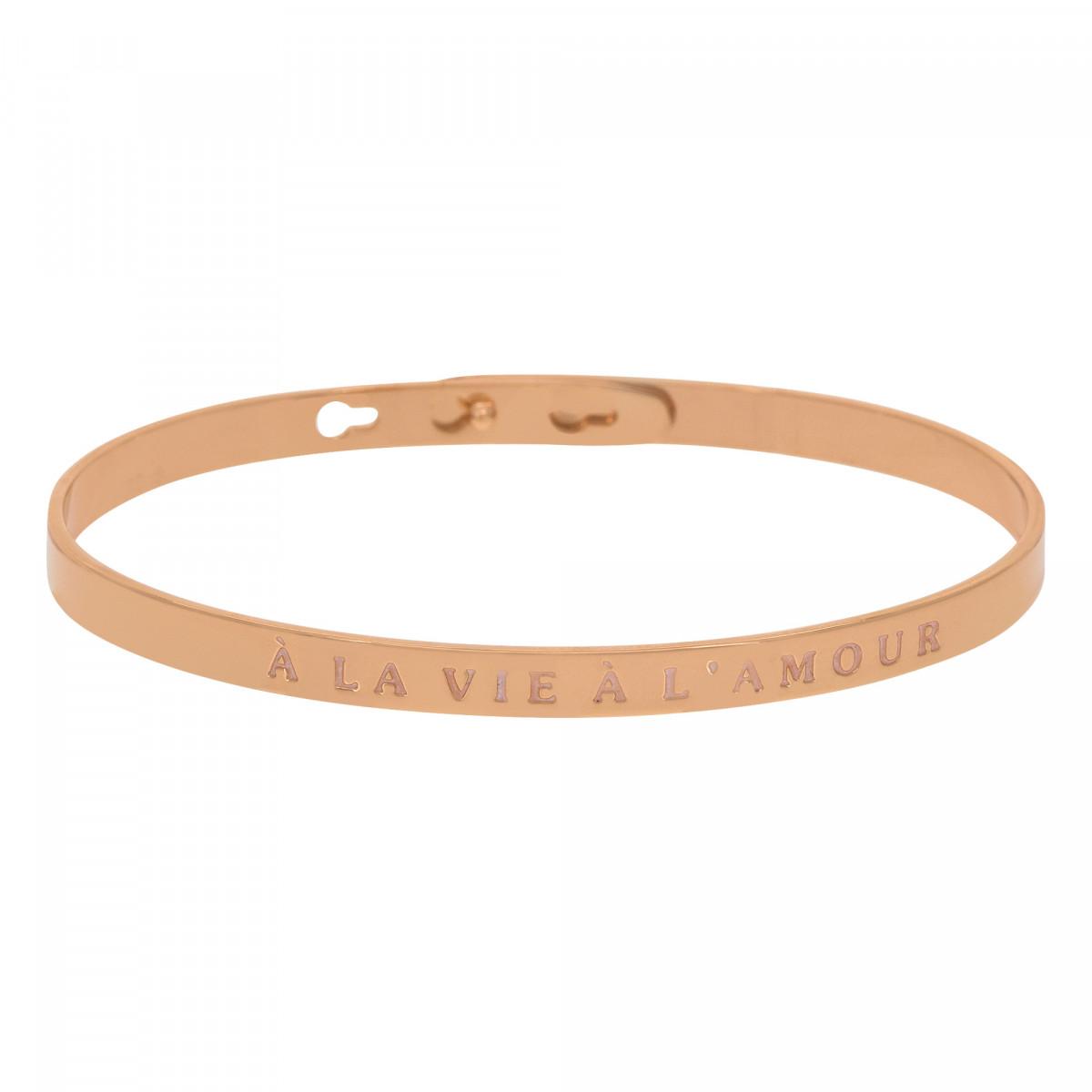 """""""À LA VIE À L'AMOUR"""" Jonc rosé bracelet à message"""