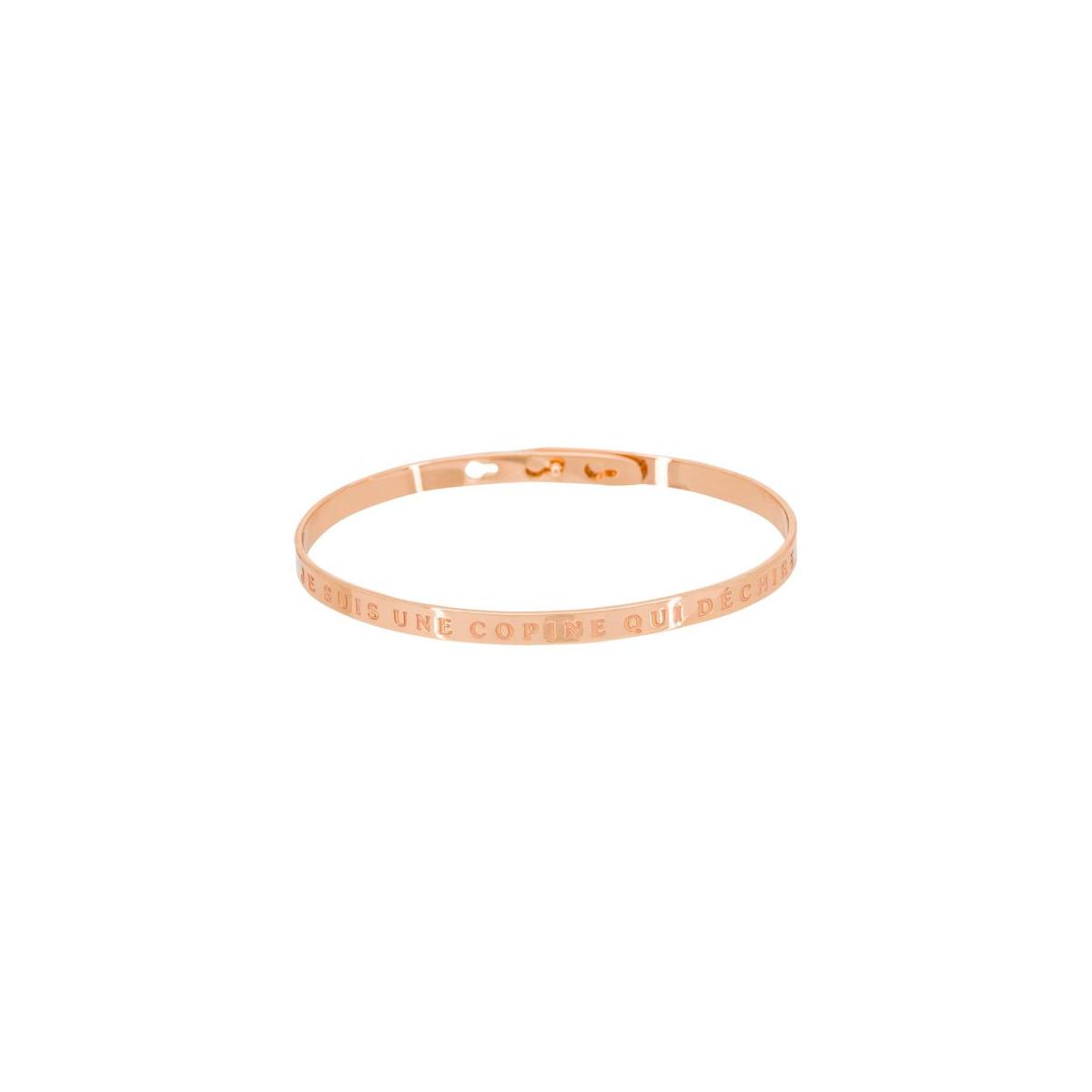 """Bracelet Jonc à message Laiton rosé """"JE SUIS UNE COPINE QUI DÉCHIRE"""""""