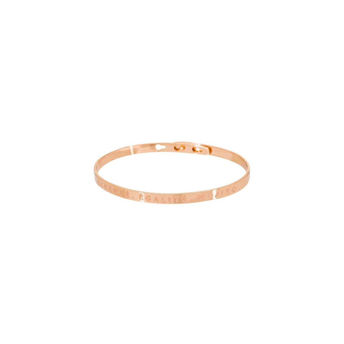 """""""LIBERTÉ, ÉGALITÉ, MOJITO"""" bracelet jonc rosé à message"""