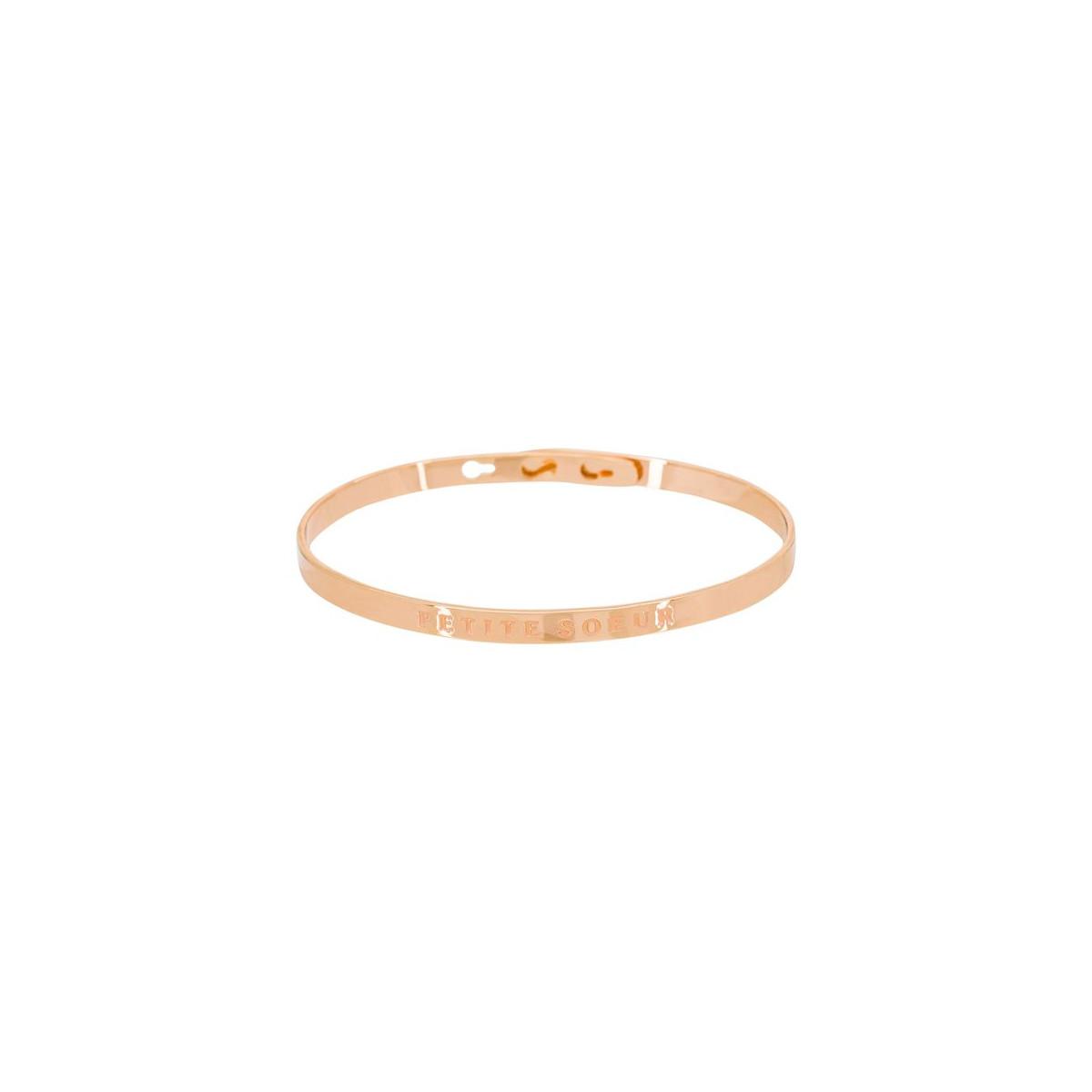 Bracelet personnalisé  PETITE SOEUR Rosé , Mes,bijoux.fr